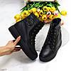 Удобные повседневные черные кожаные женские зимние ботинки натуральная кожа, фото 8