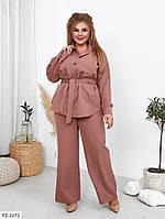 Стильний батальний брючний костюм розкльошені брюки і блуза під пояс Розмір: 50, 52, 54, 56 арт. 666