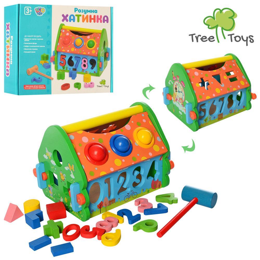Дерев'яна яна іграшка Стукалка MD 2367 будиночок, сортер, молоточок, кулька 3 шт., кор., 25-20,5-6,5 див.