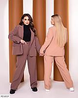 Модний однотонний діловий костюм розкльошені вільні брюки і піджак Розмір: 48-50, 52-54, 56-58 арт. 1040