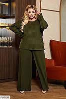 Трикотажний костюм двійка в рубчик вільного крою штани палаццо і блузон Розмір: 50-52, 54-56 арт. 705