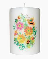Свеча цветочные мотивы 2 d -6  h-8 cm