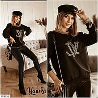 Модний молодіжний костюм двійка легінси з еко-шкіри та кофта з трехнити на флісі Розмір:48-50,52-54 арт. 7050