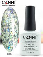 Гель лак Canni 186 (прозрачный с голографическими блестками)