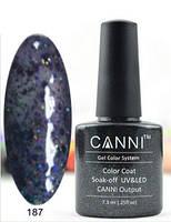 Гель лак Canni 187 (полупрозрачный черный с голографическими блестками)