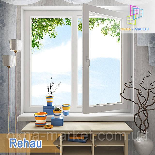 Двухстворчатое металлопластиковое окно Rehau первая половина поворотно-откидная, вторая ― глухая