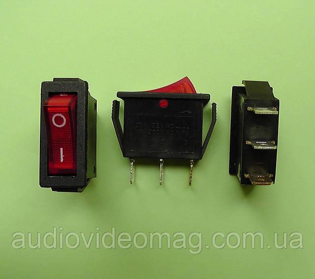 Переключатель клавишный 250V 15A, красный 28.5 х 10.5мм, с подсветкой