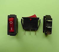 Кнопочный выключатель 250V 15A, красный 28.5 * 10.5мм, с подсветкой