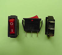 Кнопочный выключатель 250V 15A, красный 28.5 х 10.5мм, с подсветкой, фото 1