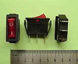Переключатель клавишный 250V 15A, красный 28.5 х 10.5мм, с подсветкой, фото 2
