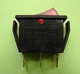Переключатель клавишный 250V 15A, красный 28.5 х 10.5мм, с подсветкой, фото 3