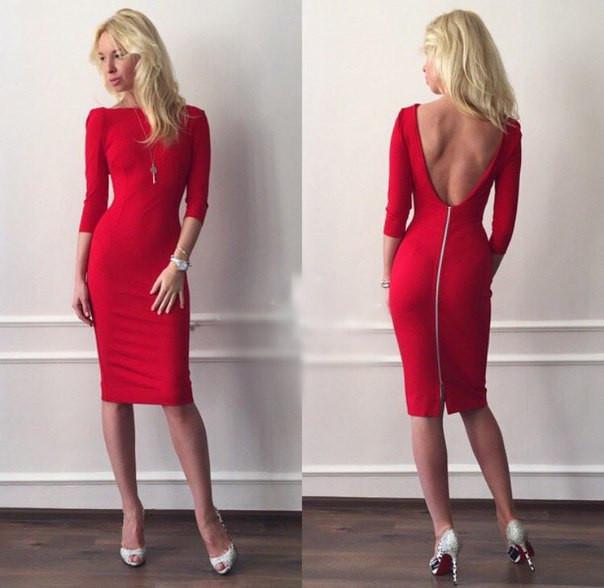 c3002252ed65 Платье миди с разрезом на спине - RUSH STORE интернет-магазин женской одежды  в Николаеве