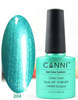 Гель лак Canni 204 (зеленый перламутр)
