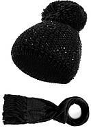 Шикарный комплект крупной вязки (шапка+шарф) от Kamea - Molly 54-60, черный
