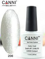 Гель лак Canni 206 (жемчужный с голографическим микроблеском)