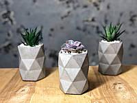 """Бетонна геометрична ваза """"Мозаїка"""" 11*8 см"""