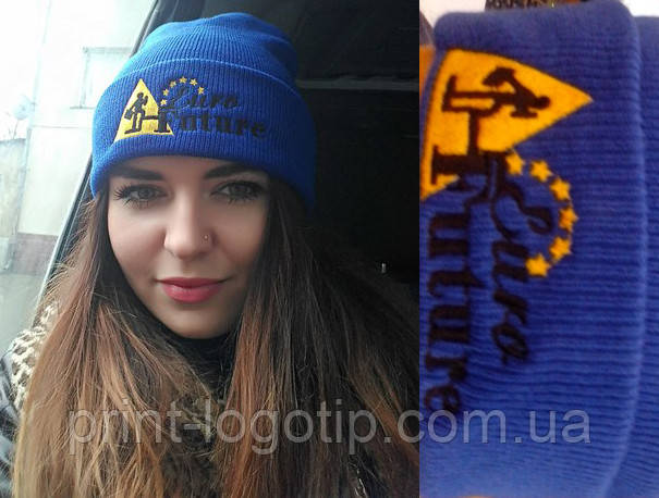 Фирменные шапки с вышивкой, шапки с логотипом