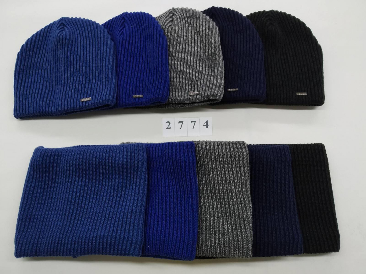 Комплект (шапка хомут) з флісовою підкладкою для хлопчика на зиму оптом - Артикул 2774
