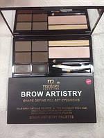 Malva - Набор для коррекции бровей Brow Artistry Palette M-478 №02 (средние тона)