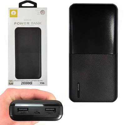 Портативний зовнішній акумулятор Power Bank WUW Y59 2USB 20000mAh Чорний