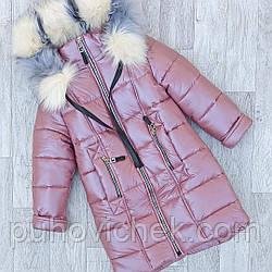 Детский пуховик зимний для девочки размеры 116-152