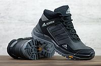 Зимние кожаные ботинки мужские Adidas Terrex   натуральная кожа + натуральная шерсть + ТПУ