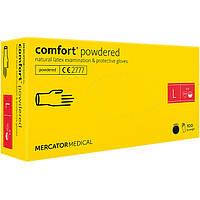 Перчатки латексные MERCATOR Comfort Powdered WHITE опудренные, размер L, 100 шт