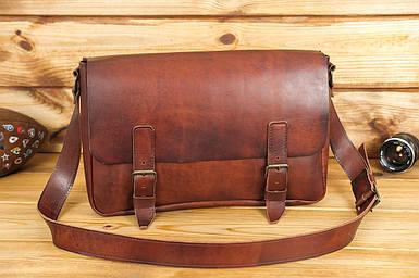 Кожаная мужская сумка Джоерман, натуральная кожа итальянский Краст цвет коричневий, відтінок Вишня