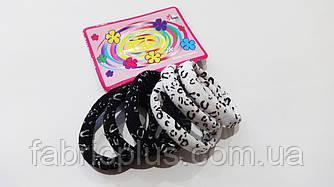 Резинки для волос 4 см черно-белые (6 шт)