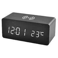 Часы сетевые VST-889-6, белые, беспроводная зарядка, температура, USB