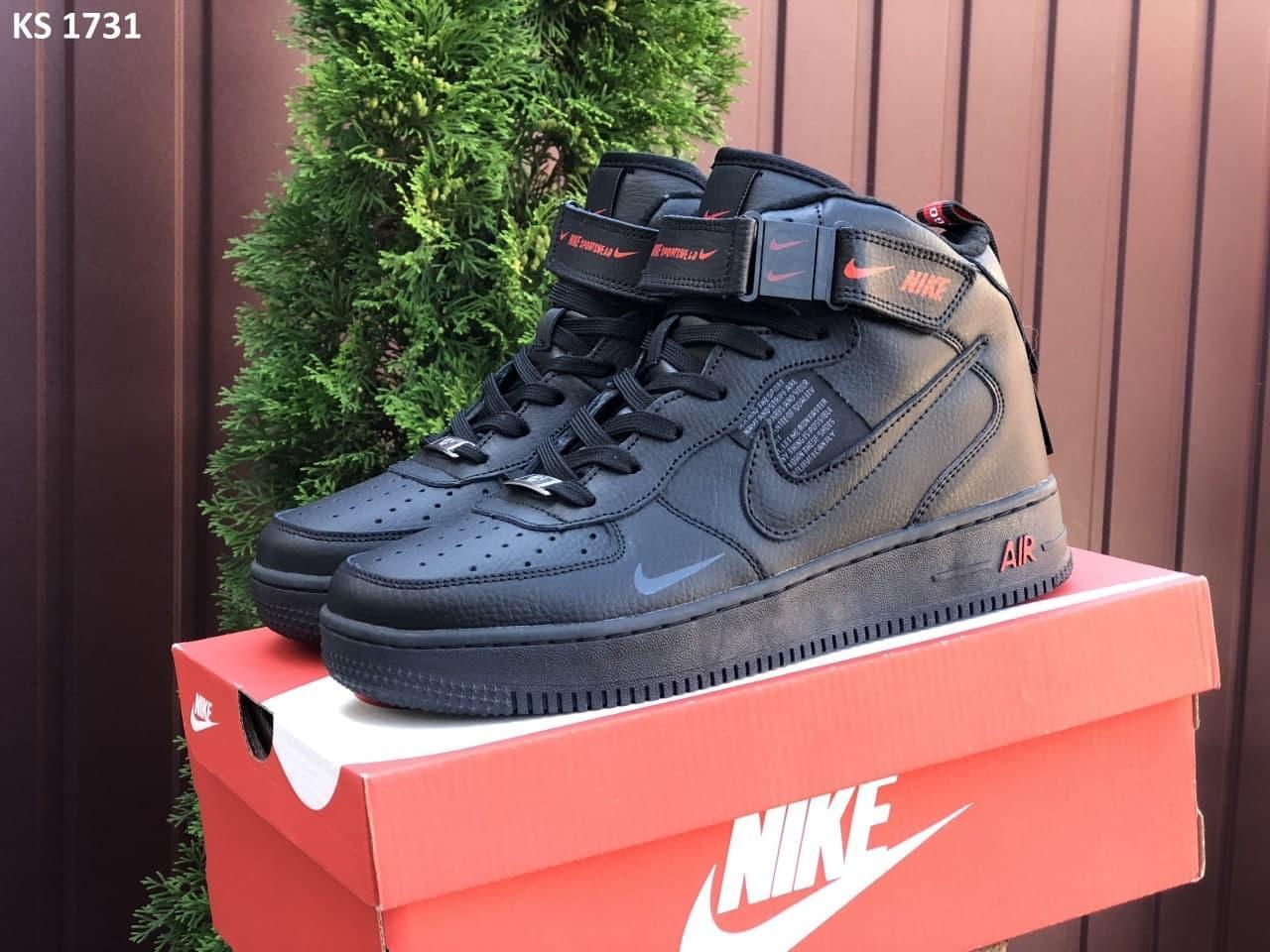 Мужские кроссовки Nike Air Force высокие (черно-красные) KS 1731 повседневные демисезонные кроссы термо