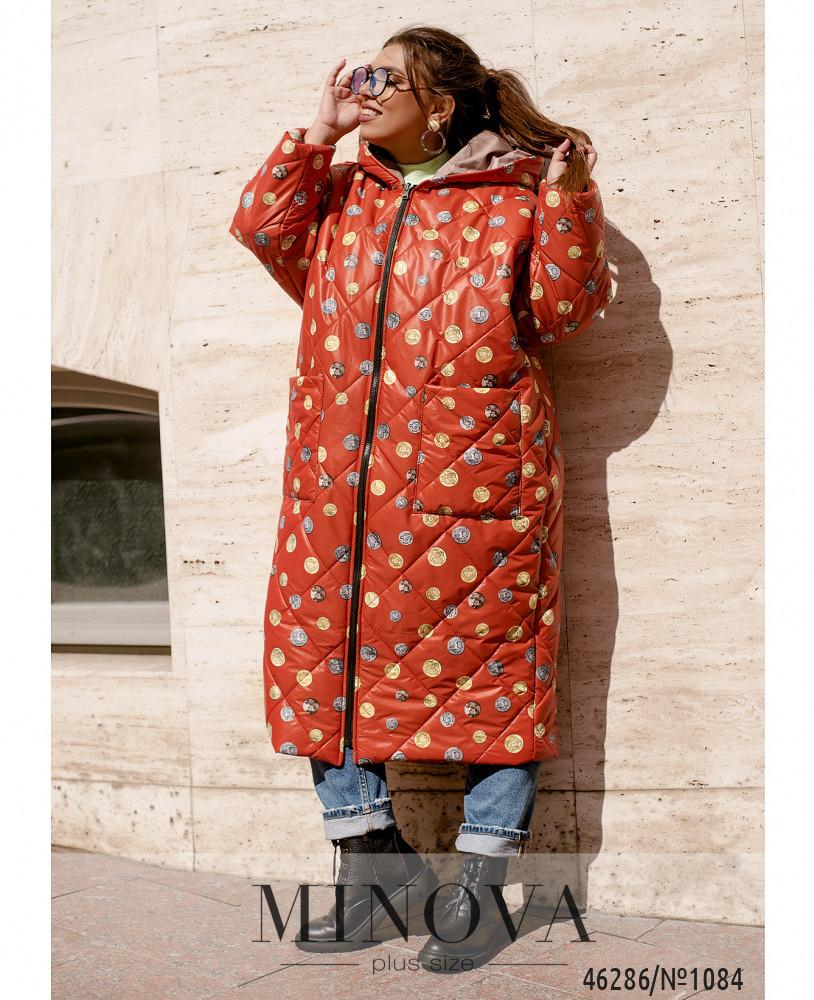Тепла двостороння куртка з накладними кишенями в забарвлення горох з одного боку з 50 по 68 розмір