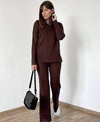 Жіночий костюм Bilichka в рубчик з круглою горловиною Коричневий