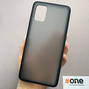 Чехол для Samsung Galaxy A71 матовый плотный чехол накладка на телефон самсунг а71 черный TCB