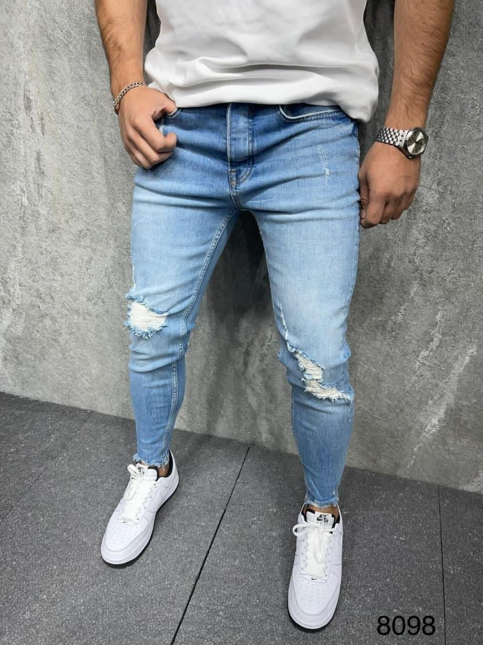 Мужские джинсы зауженные (голубые) порванного стиля качественные молодежные s8098