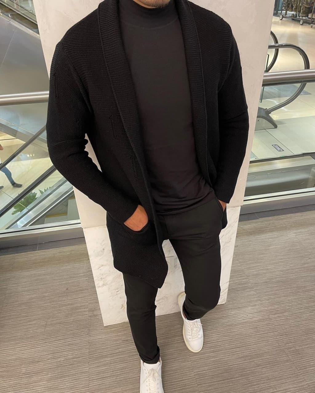 Чоловічий кардиган класичний (чорний) k6380black молодіжна крута чоловічий одяг