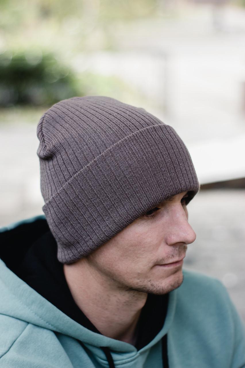 Чоловіча шапка модна лопата головний убір з підворотом унісекс колір бежевий