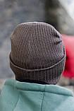 Чоловіча шапка модна лопата головний убір з підворотом унісекс колір бежевий, фото 3