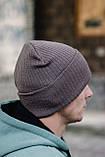 Чоловіча шапка модна лопата головний убір з підворотом унісекс колір бежевий, фото 4