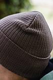 Чоловіча шапка модна лопата головний убір з підворотом унісекс колір бежевий, фото 5