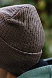 Чоловіча шапка модна лопата головний убір з підворотом унісекс колір бежевий, фото 6