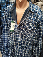 Рубашка байковая на флисе в клетку батал