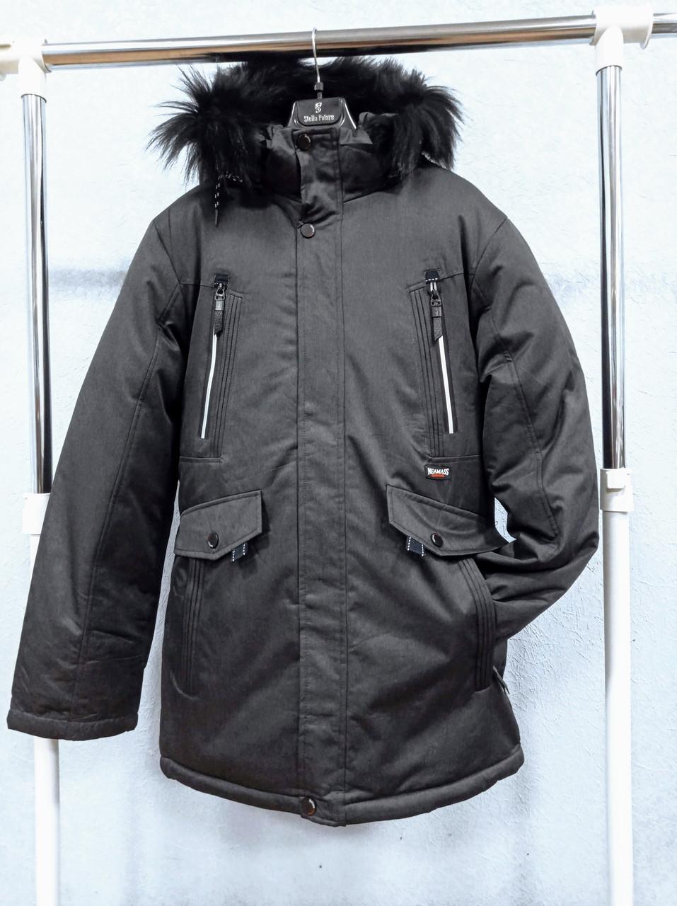 Куртка мужская зимняя норма+батал темно-серая (300-021)