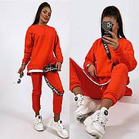 Жіночий яскравий спортивний костюм трехнить на флісі в кольорах (Норма), фото 3