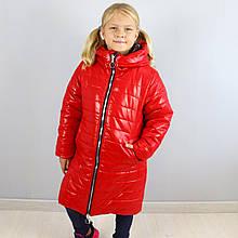 20467крас Зимняя куртка для девочки Красная тм Одягайко размер 140,146 см