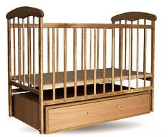 "Дитяче ліжечко ""Наталка"" з шухлядою на маятнику  світле"