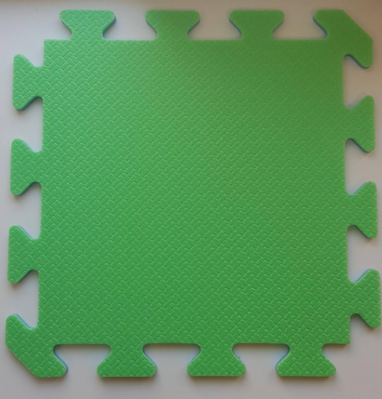 Мягкий пол пазл 300*300*8 мм  двухсторонний зелено-синий