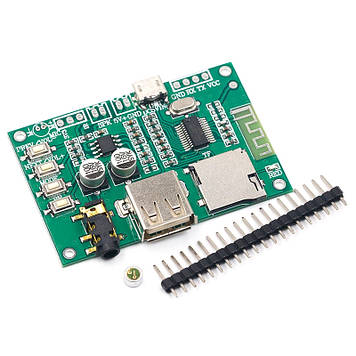Аудио модуль mp3, Bluetooth 5.0, USB, microSD, AUX, DC 5В, модель BT201