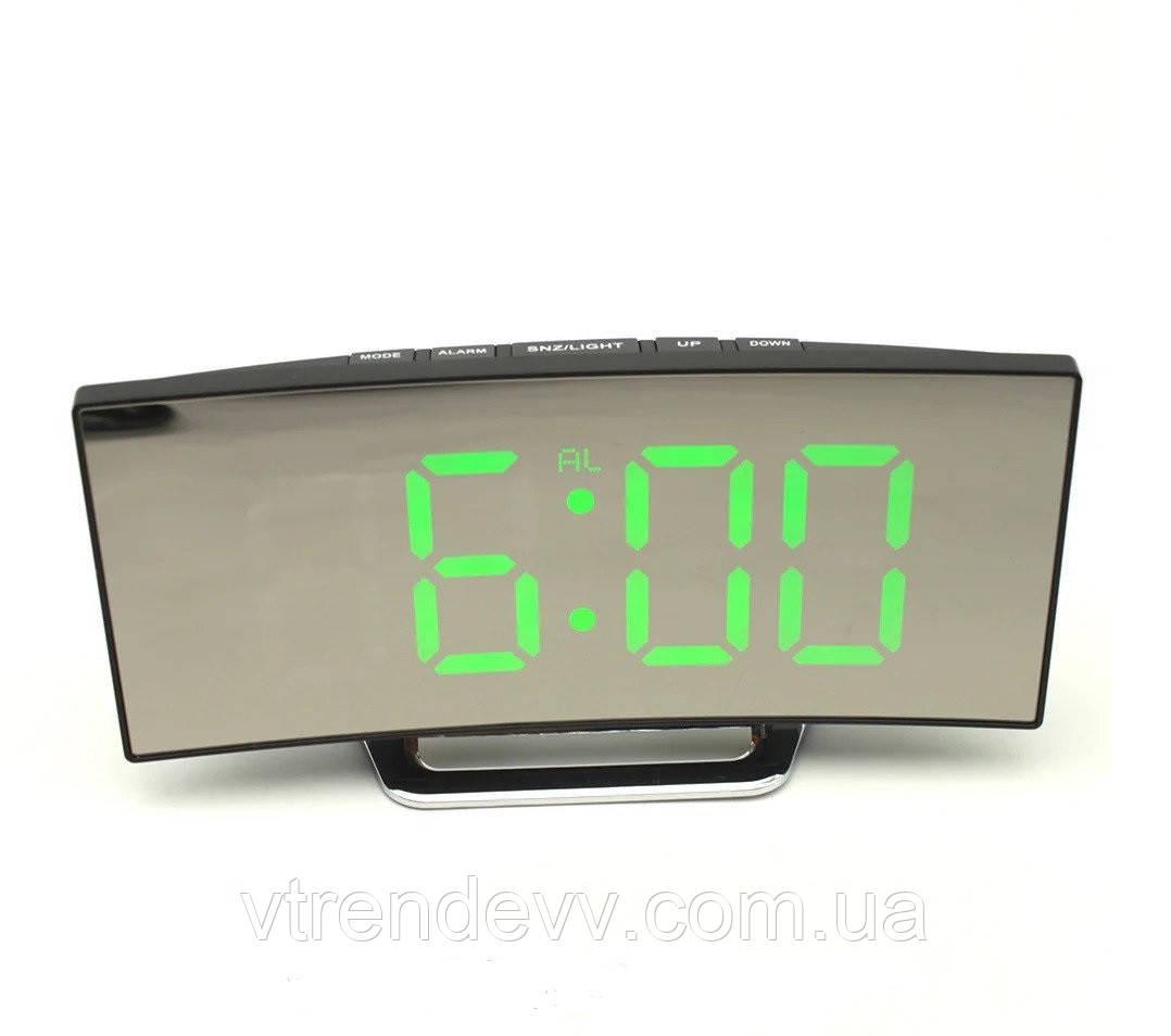 Часы электронные зеркальные с зеленой подсветкой от USB DT6507