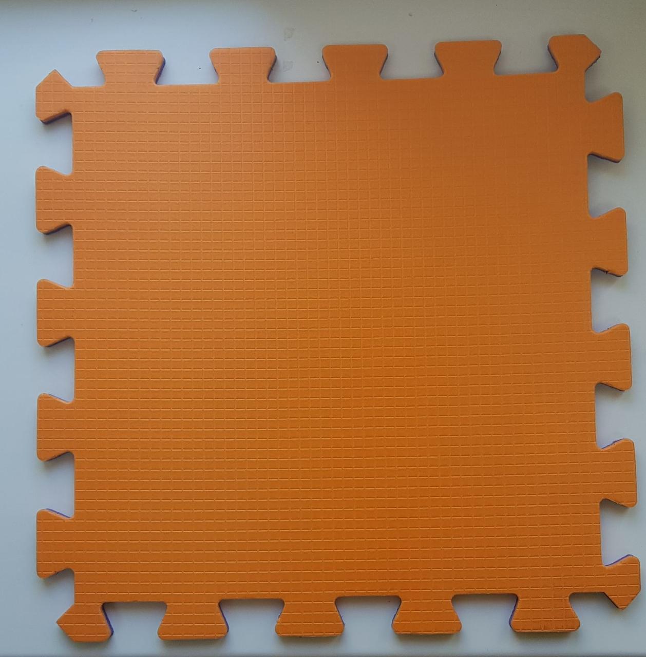 Мягкий пол пазл 300*300*8 мм двухсторонний оранжево -синий